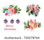 watercolor christmas set.... | Shutterstock . vector #720278764