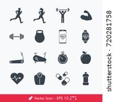 simple fitness icons   vectors... | Shutterstock .eps vector #720281758