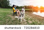 young couple enjoy camping... | Shutterstock . vector #720286810