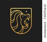 lion head shield simple line... | Shutterstock .eps vector #720291610