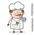 cartoon chef drinking cold...   Shutterstock .eps vector #720292204