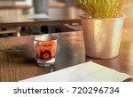 single shot of whiskey glass...   Shutterstock . vector #720296734