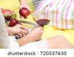 friends drinking wine on picnic ...   Shutterstock . vector #720337630