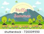 flat summer background concept | Shutterstock .eps vector #720339550