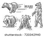 illustration set of bears in... | Shutterstock .eps vector #720342940