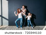 stress dad standing with happy...   Shutterstock . vector #720344110