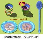 image of plates with spaghetti...   Shutterstock .eps vector #720344884