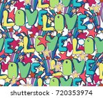cute brightly holiday seamless... | Shutterstock .eps vector #720353974