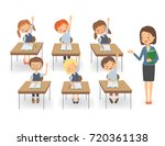 teacher with pupils in a... | Shutterstock .eps vector #720361138