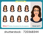 set of woman expression... | Shutterstock .eps vector #720368344