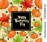 happy thanksgiving greeting card | Shutterstock .eps vector #720368410