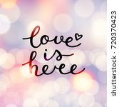 love is here lettering  vector... | Shutterstock .eps vector #720370423
