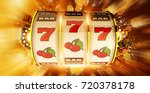 one handed fruit machine... | Shutterstock . vector #720378178