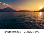 calm lake thun sunset in the...
