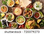 selection of libanese food mezze | Shutterstock . vector #720379273