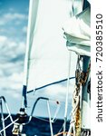 yachting on sail boat during... | Shutterstock . vector #720385510