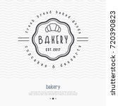 bakery logo with thin line icon ... | Shutterstock .eps vector #720390823