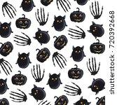 halloween watercolor background | Shutterstock .eps vector #720392668