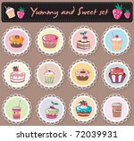 sweet yummy cupcakes set.