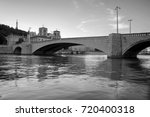 Small photo of Pont Bonaparte across the Saone River - Bridge of Lyon, France