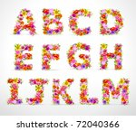 vector colorful flower font....