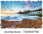 watercolour painting of dawn at ... | Shutterstock . vector #720404758