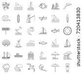 ocean animal icons set. outline ... | Shutterstock .eps vector #720413830