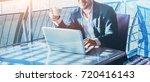 businessman working on computer ... | Shutterstock . vector #720416143