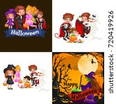 cute colorful halloween kids in ... | Shutterstock . vector #720419926