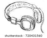 headphones sketch vector... | Shutterstock .eps vector #720431560