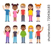 set of cute diverse cartoon... | Shutterstock . vector #720436183