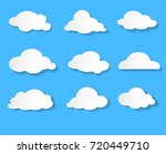 clouds vector icon set white... | Shutterstock .eps vector #720449710