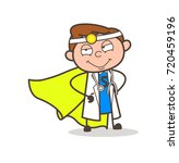 cartoon super hero doctor... | Shutterstock .eps vector #720459196