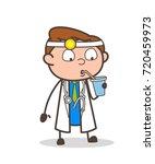 cartoon thirsty doctor vector... | Shutterstock .eps vector #720459973