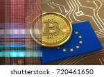 3d illustration of bitcoin over ... | Shutterstock . vector #720461650