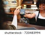 customer making wireless or...   Shutterstock . vector #720483994