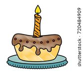 delicious pudding with candle... | Shutterstock .eps vector #720484909