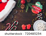 christmas composition. dark... | Shutterstock . vector #720485254