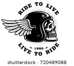 biker skull in helmet with wing ... | Shutterstock .eps vector #720489088