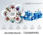 concept for business teamwork... | Shutterstock .eps vector #720489490