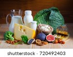 foods rich in calcium such as... | Shutterstock . vector #720492403
