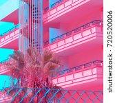 minimal urban pink. tropical...   Shutterstock . vector #720520006