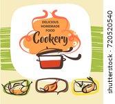 freehand drawn template logo... | Shutterstock .eps vector #720520540