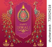 happy diwali festival card with ... | Shutterstock .eps vector #720524218