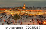 the UNESCO square Djemaa El-fna at marrakesh, Morocco - stock photo