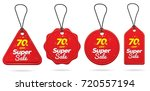 red color price tag design set  ... | Shutterstock .eps vector #720557194