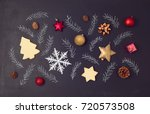 christmas holiday chalkboard... | Shutterstock . vector #720573508