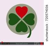 four leaf clover with a heart... | Shutterstock .eps vector #720574036