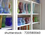 shelves with glass vases in a... | Shutterstock . vector #720580060