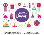diwali hindu festival flat... | Shutterstock .eps vector #720580603